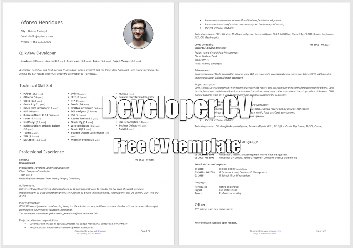 Developer Cv New Free It Cv Template Is Now Available Sprint Cv