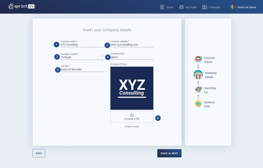 Sprint CV IT Recruiter Wizard Tutorial - Company details