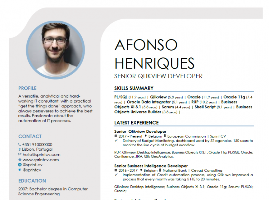 a great it resume template generated by sprintcv
