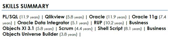 A good one-page CV has a Skills summary that mimics the job description