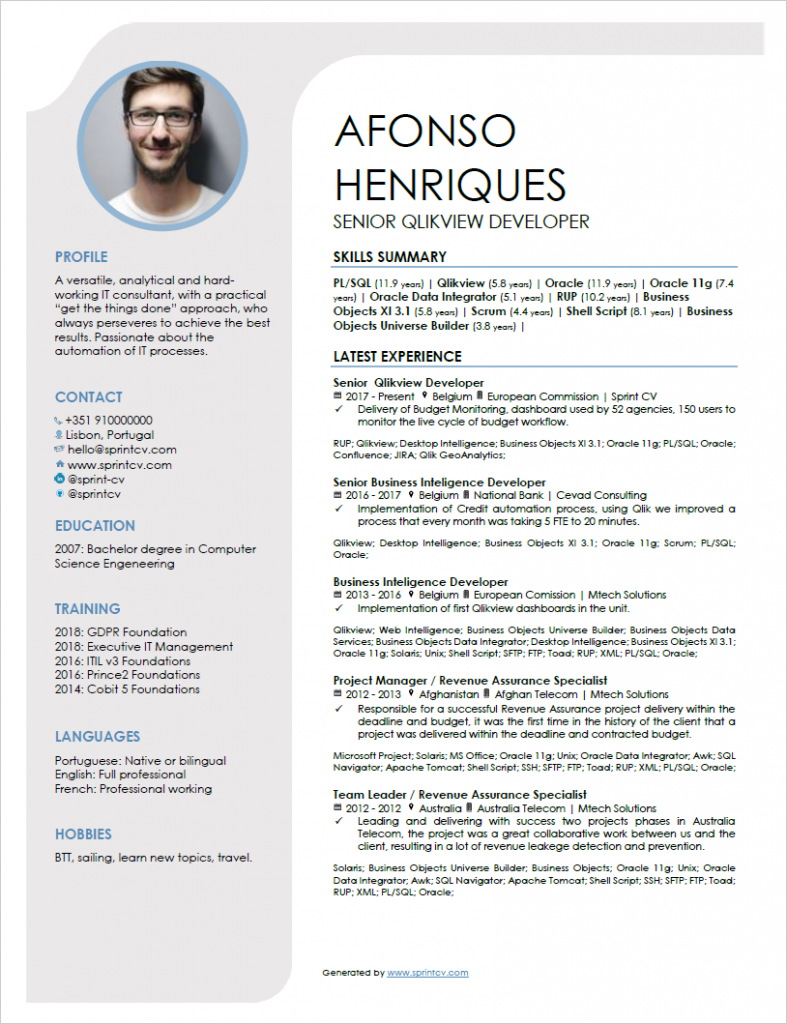 An amazing IT resume example generated by Sprint CV