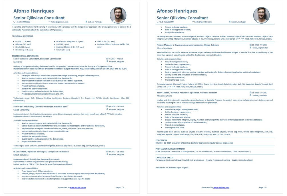 IT Customised CV template that highlights all IT skills generated by sprintcv