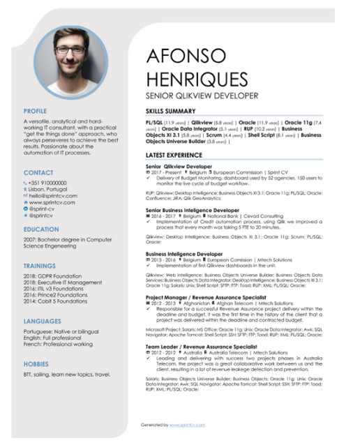 Sexy one-page CV generated by sprintcv