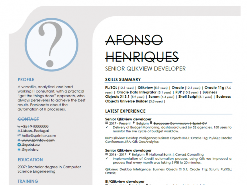 Anonymize CV do it efficiently with Sprint CV
