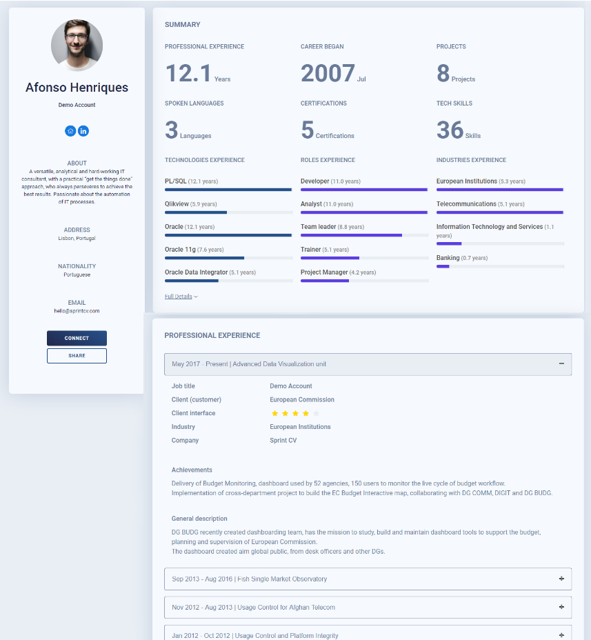 The online professional profile generated by Sprint CV