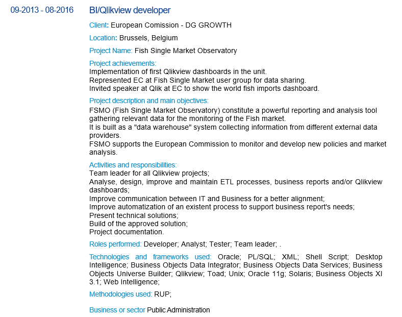 An Europass CV with projects well detailed enable an IT consultant to get a job at European Commission