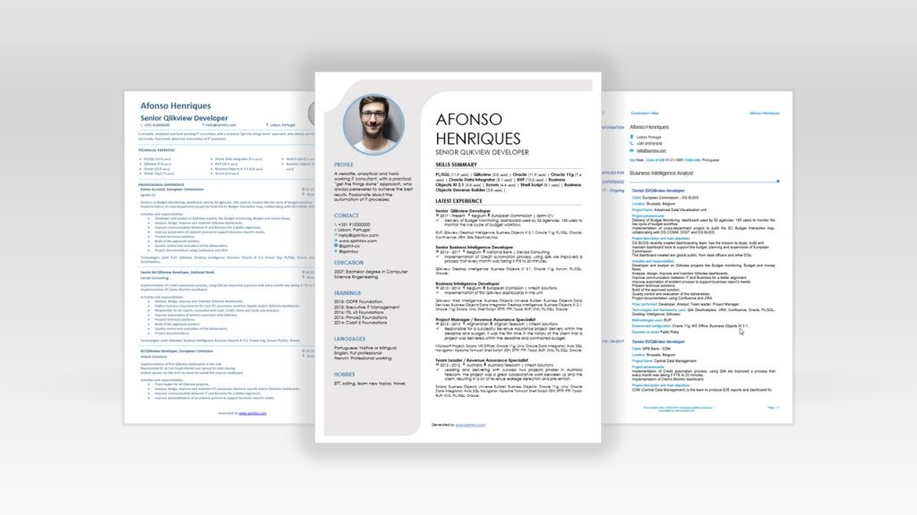 Sprint CV helps it professionals to have always the right cv template