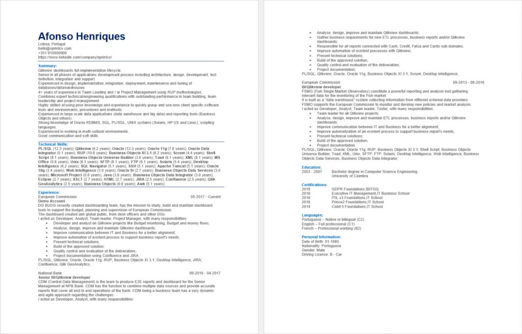 ATS-friendly CV generated by Sprint CV