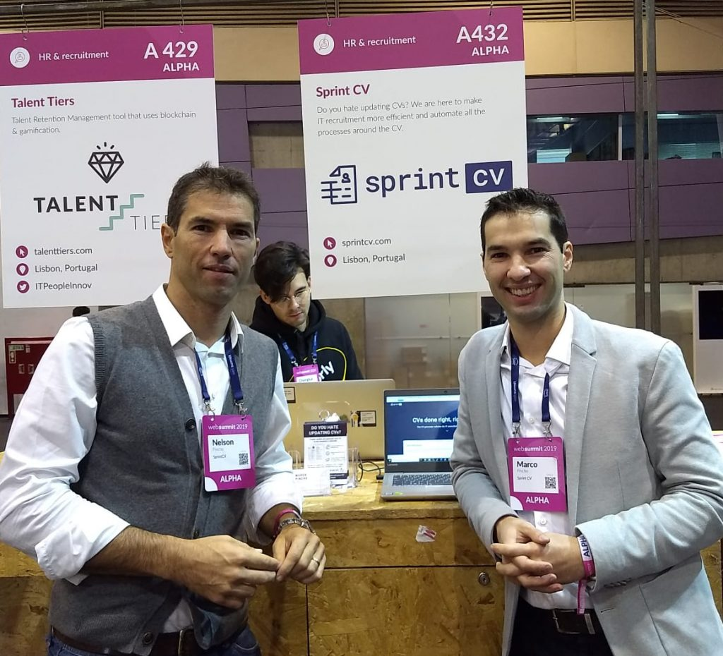 Booth day at Web Summit 2019, Nelson Pincho and Marco Pincho, founders of Sprint CV