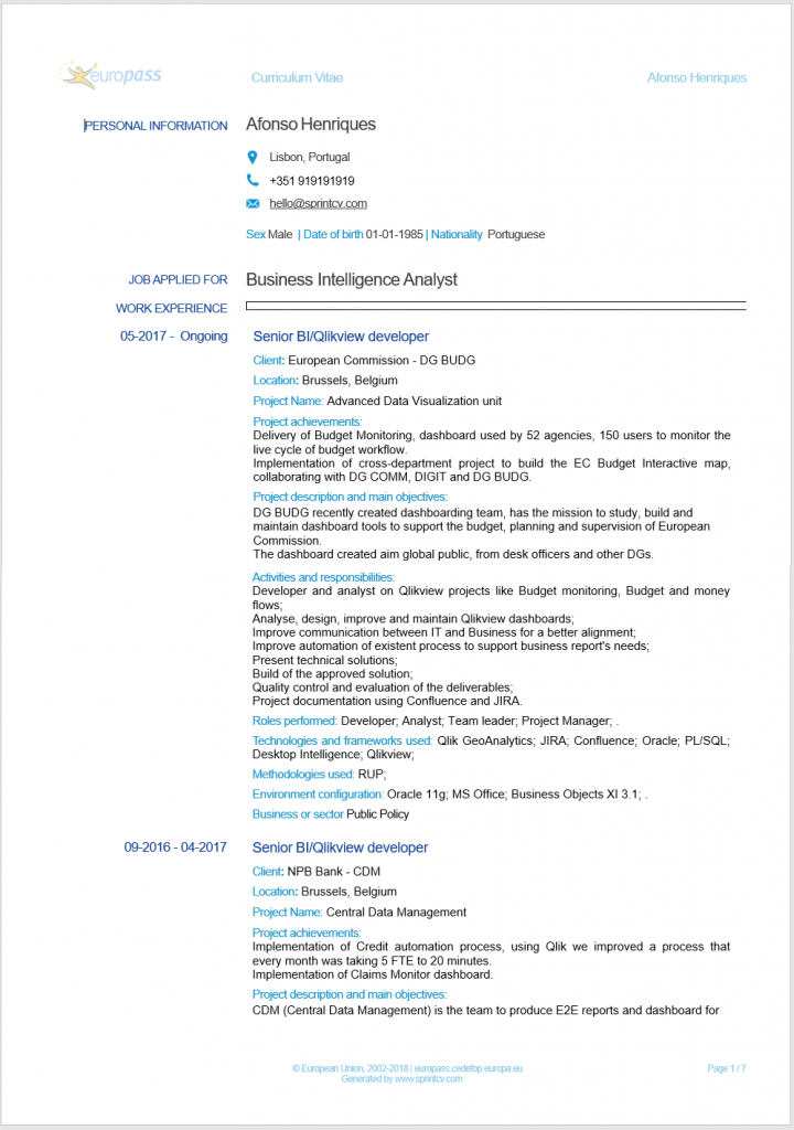 example of Europass CV generated by Sprint CV online tool