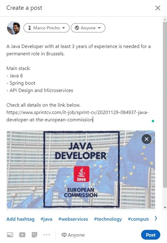CV Management Solution - Job Post - Sprint CV