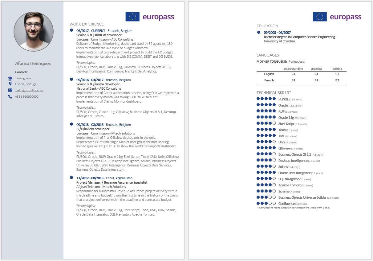 Europass 2020 Sprint CV